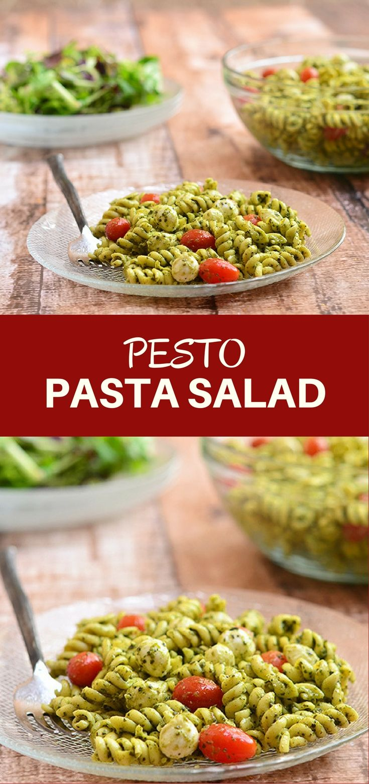 Pesto Pasta Salad with al dente pasta, bocconcini, and juicy cherry tomatoes tossed in a rich pesto sauce. It's a light yet satisfying delicious lunch meal that's sure to please the crowd!