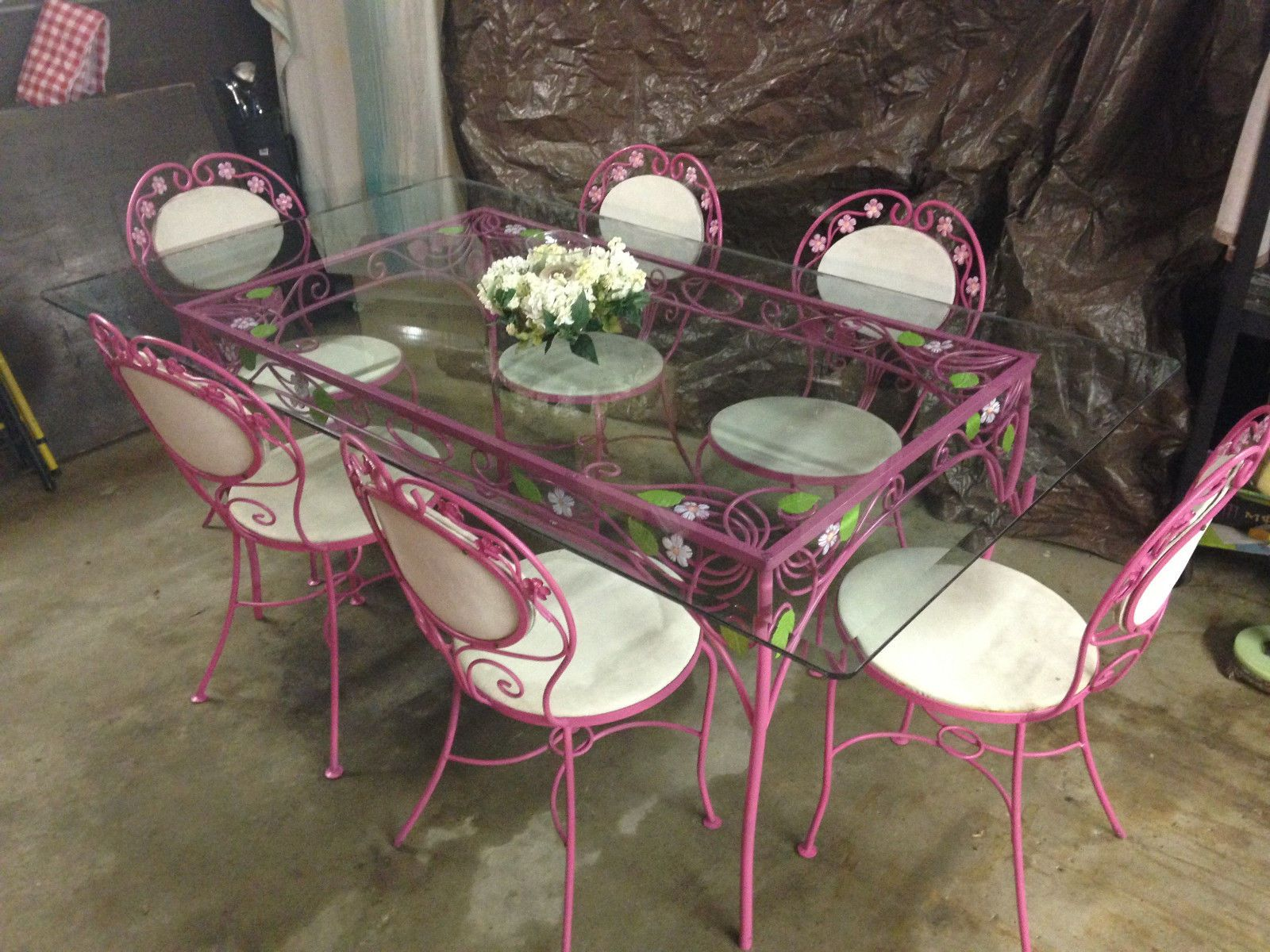 Vtg Mid Century Wrought Iron Dining Patio Set Table 6 Chairs