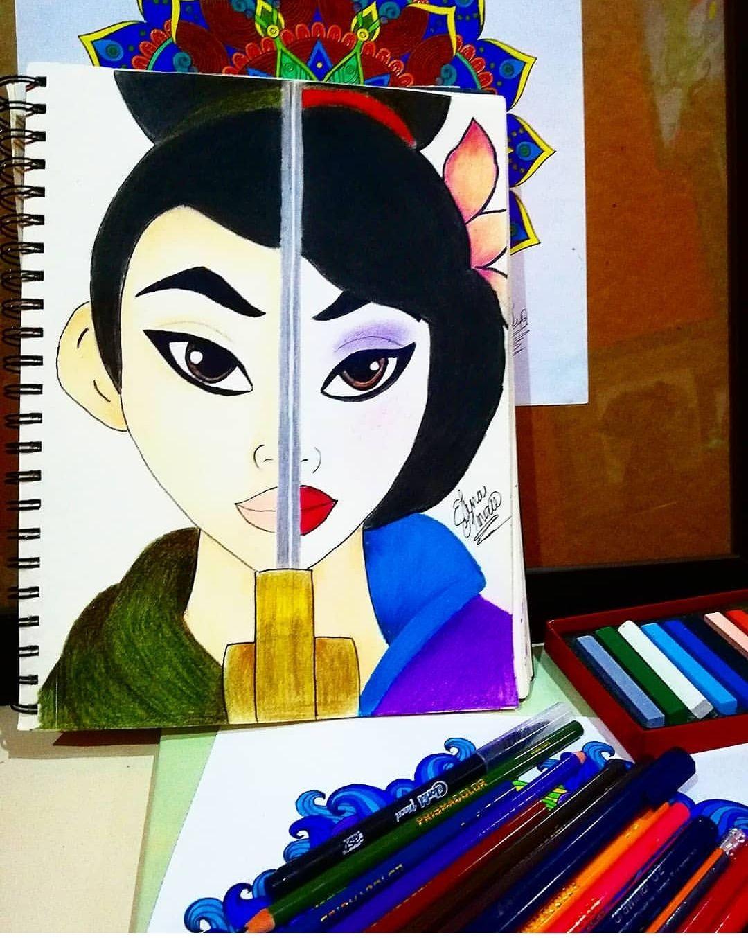 Dibujo De Hua Mulan Realizado Con Lapices De Colores