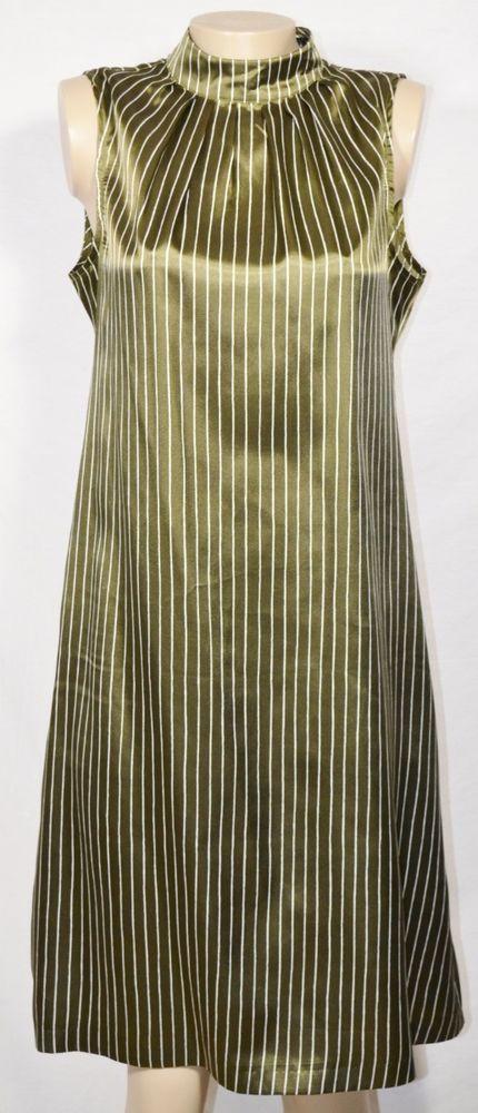 a4fe8698ff230 H M Dark Olive Green Cream Striped Sleeveless Shirt Dress 12 High Collar  Unlined  HM  Shift  WeartoWork