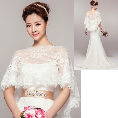 White Beaded Embroidered Lace Bridal Wedding Poncho Wrap Cover Up ...