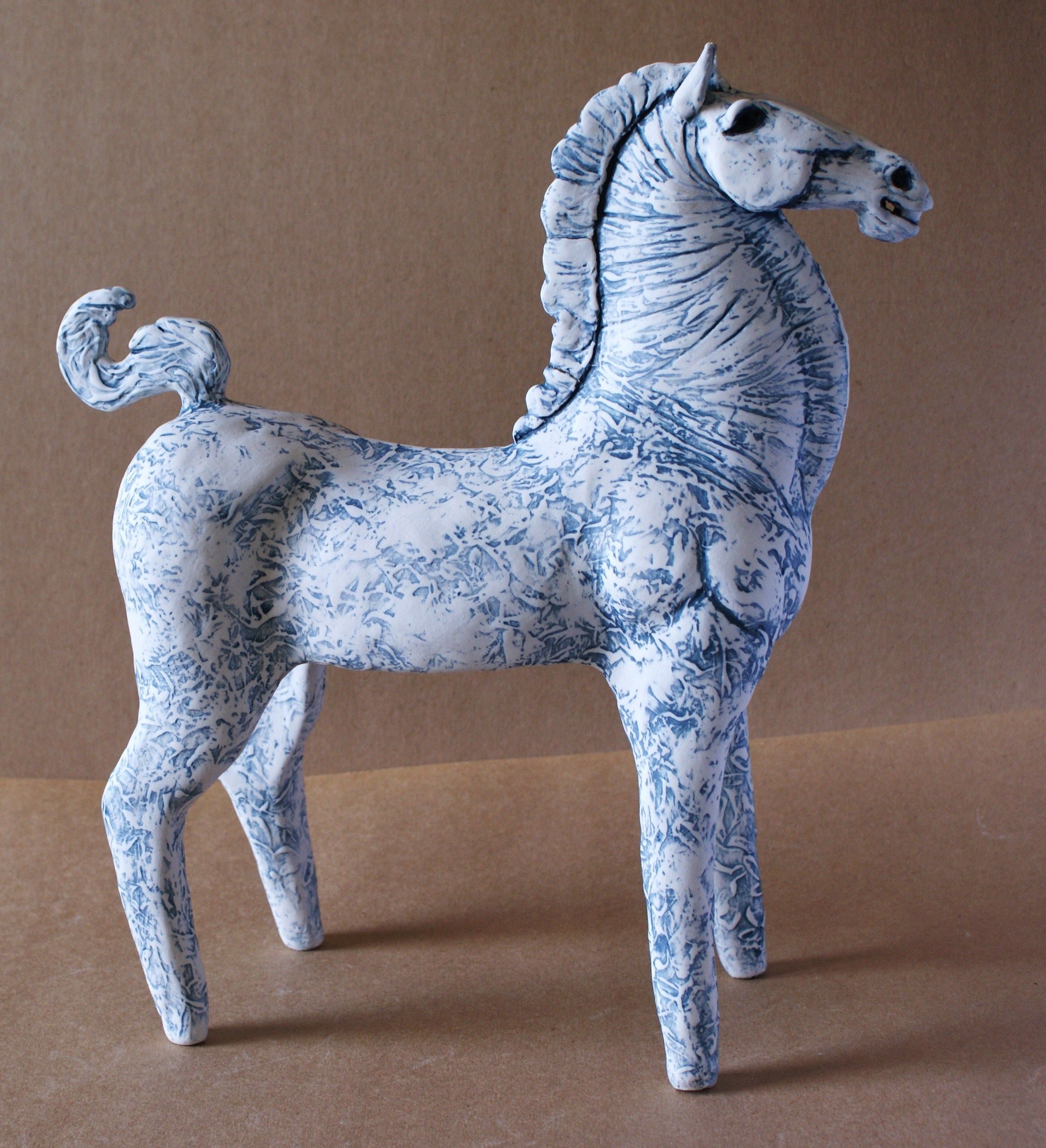 Blue Stallion - High-fired Porcelain and Stoneware clay with blue oxides