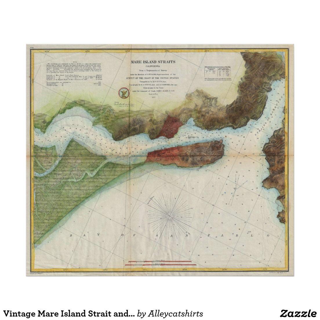 Vintage Mare Island Strait and Vallejo Map 1857 Poster Vintage