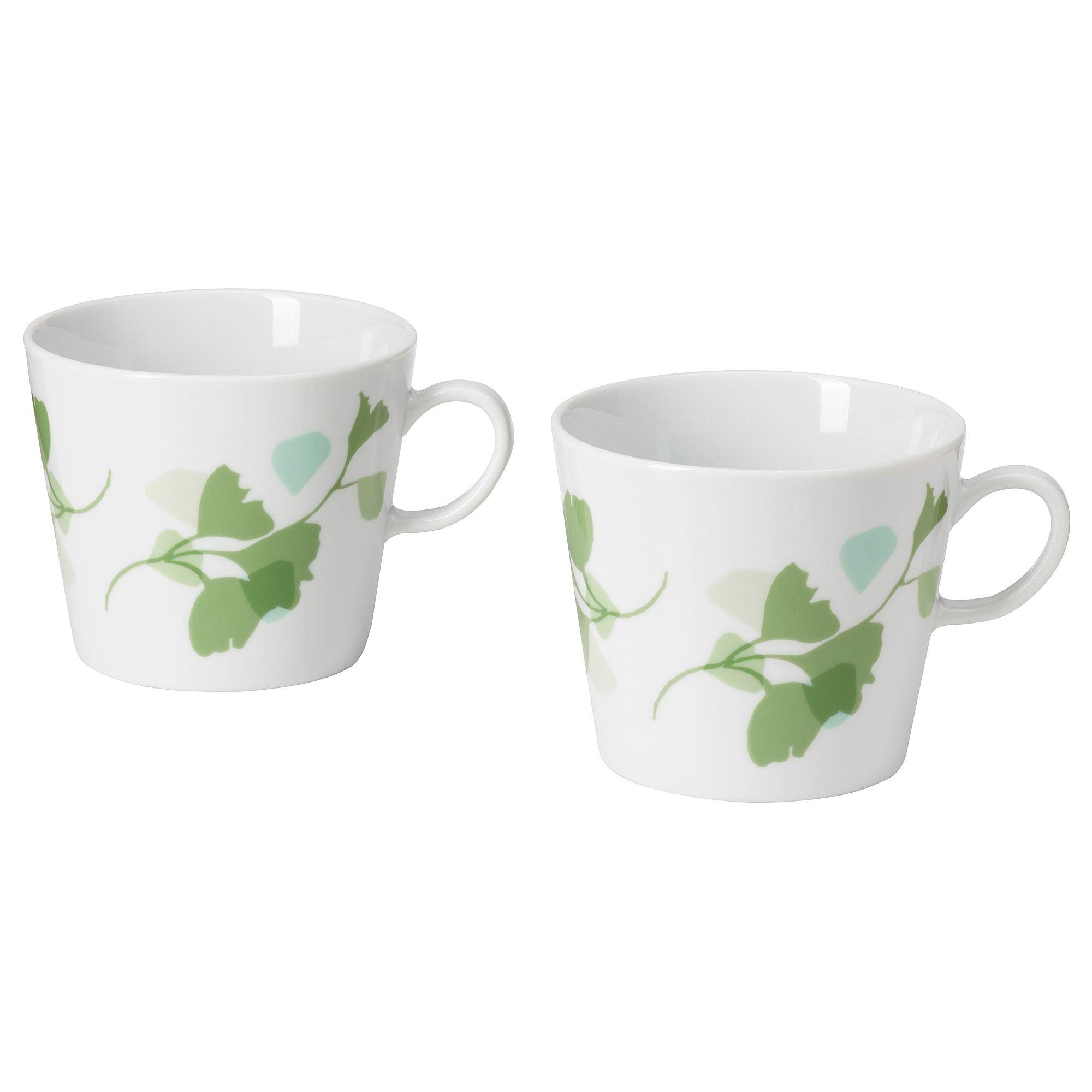 Photo of IKEA – STILENLIG Mug, leaf patterned white/green