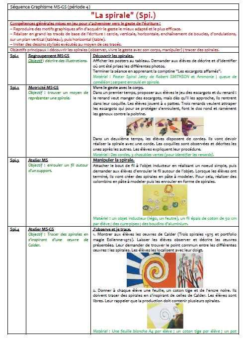 Graphisme n°8 - la spirale (MS-GS) - LocaZil Cycle 1 Pinterest - faire son plan de maison gratuit