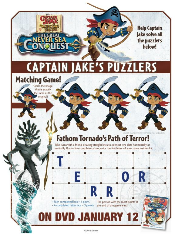 Disney Captain Jake and The Neverland Pirates Puzzlers Activity Page ...