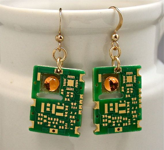 Recycled Gold Circuit Board Earrings