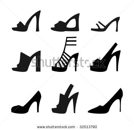 Set Of Silhouette Shoes Icon Stock Vector Illustration of