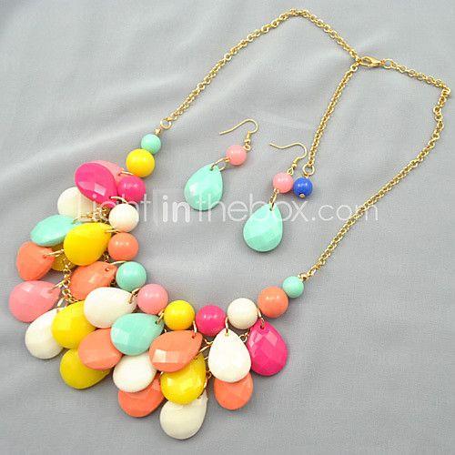 Putizi Seaside Droplets Earrings And Necklace Set (Multi-Color)   LightInTheBox