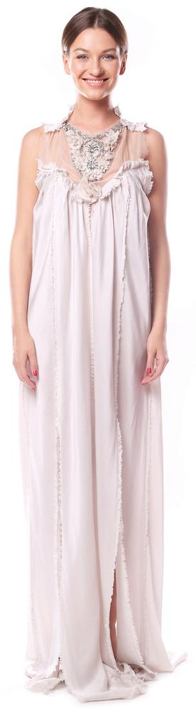 Шелковое летящее платье с камнями