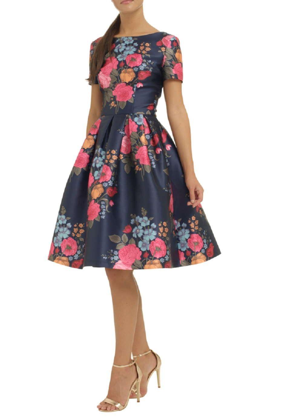 Chi Chi London Blue Floral Print Midi Skater Dress Floral Print Midi Dress Womens Midi Dresses Vintage Style Dresses