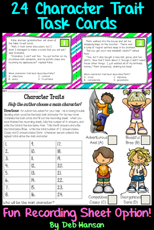 character trait task cards pdf