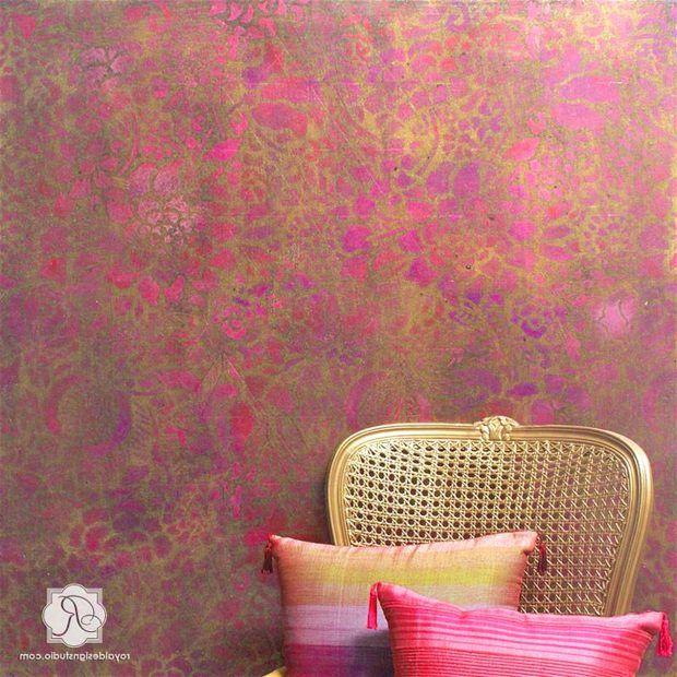 19fb5b2d5 Royal wall painting fine Royal Wall Painting Enchanting Photo Gold Metallic  Pink Stencils Mural 1491524475 with