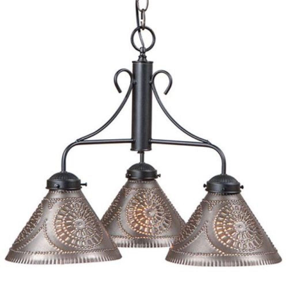Island Bar Light Rustic Iron Chandelier With Punched Tin