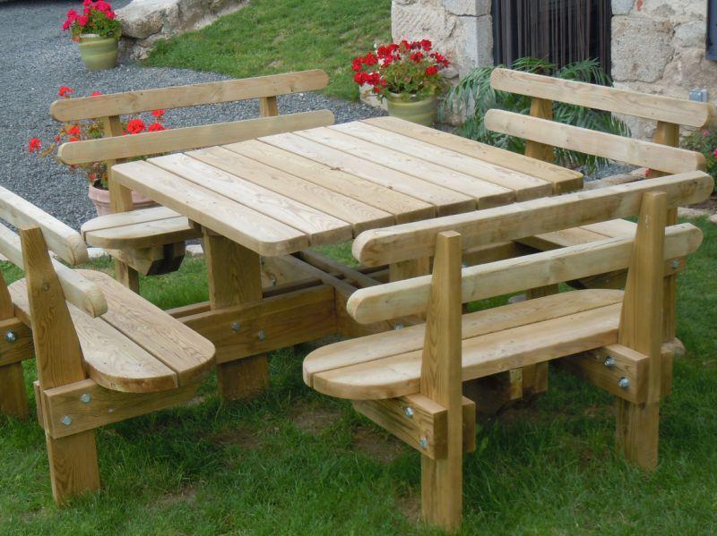 Table De Jardin En Bois Avec Banc Integre  Plan Pour Fabriquer Un Banc De Jardin  Bahbecom