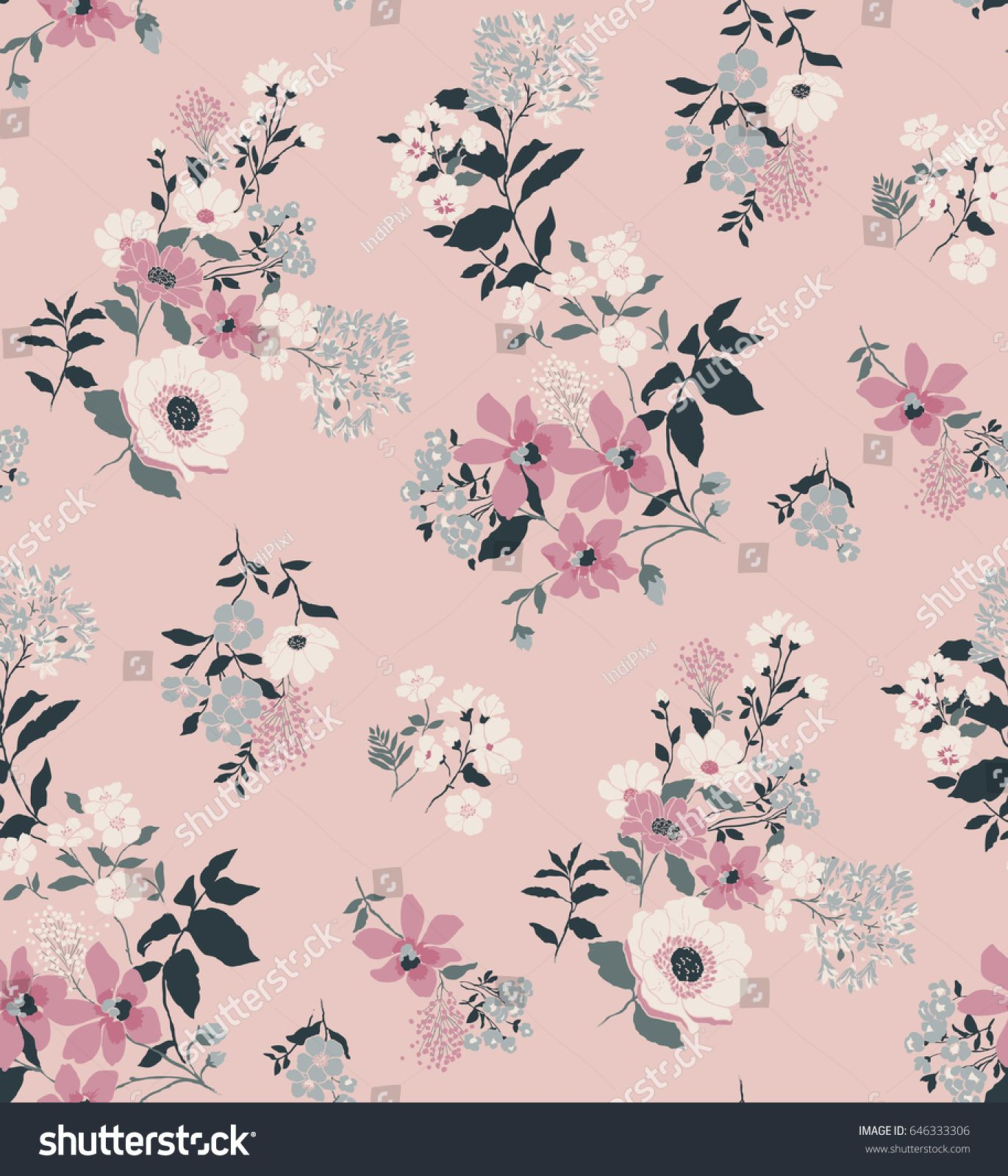 Seamless Floral Pattern Vector Stock Vector Royalty Free
