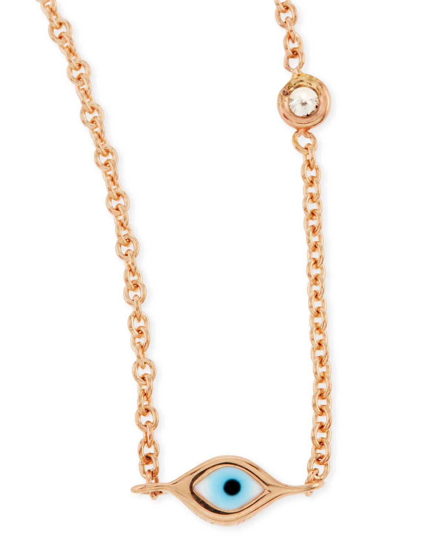 Sydney Evan 14k Rose Gold Evil Eye Necklace with Single Diamond 7vxrI