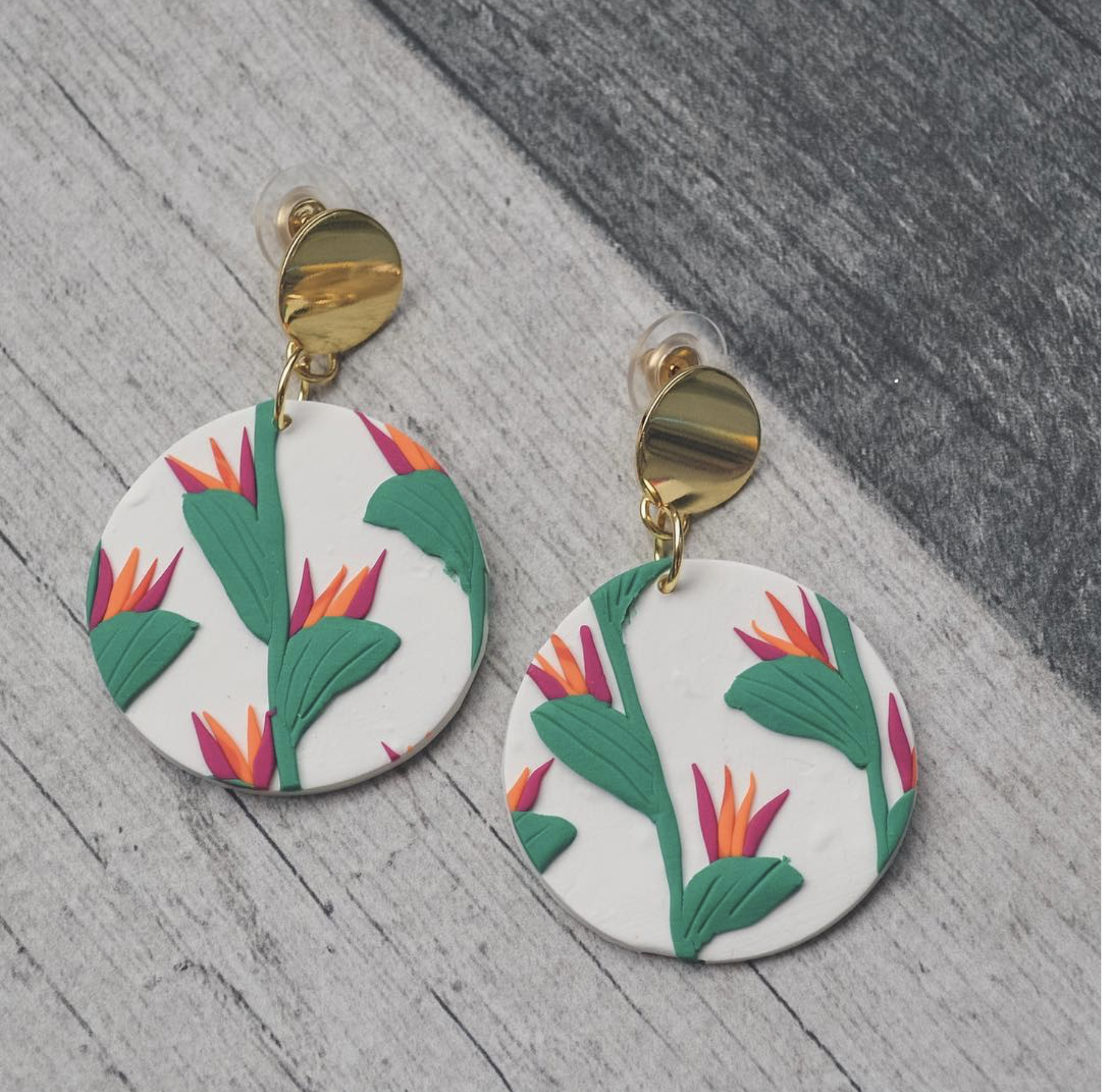 Bird Of Paradise Clay Earrings In 2020 Polymer Clay Embroidery Clay Earrings Clay Bird