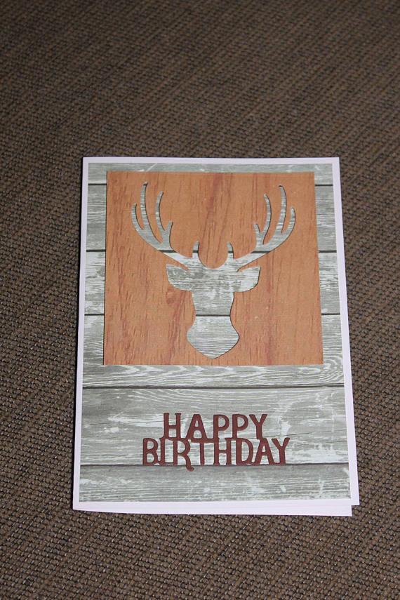 Happy Birthday Hunting Deer Head Handmade 3d Blank Card Happy Birthday Hunting Cards Birthday Cards For Men