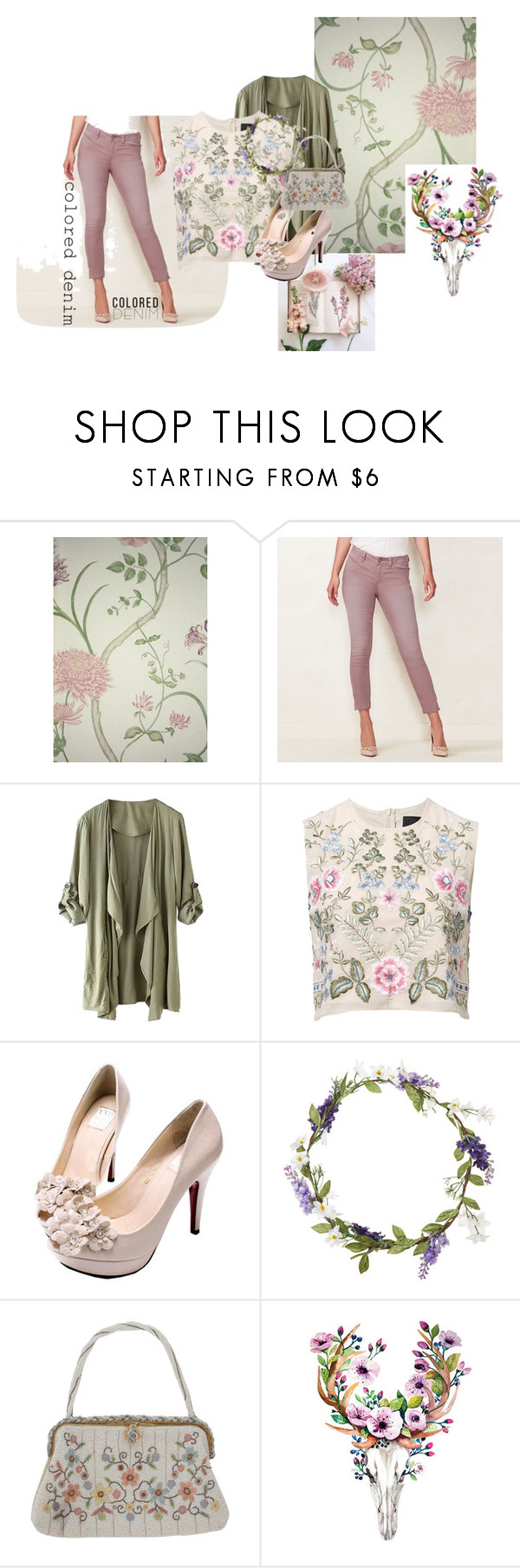 """""""CONTEST ENTRY: Coloured Denim"""" by bnspyrd ❤ liked on Polyvore featuring SANDERSON, LC Lauren Conrad, WithChic, Needle & Thread, Topshop and coloredjeans"""