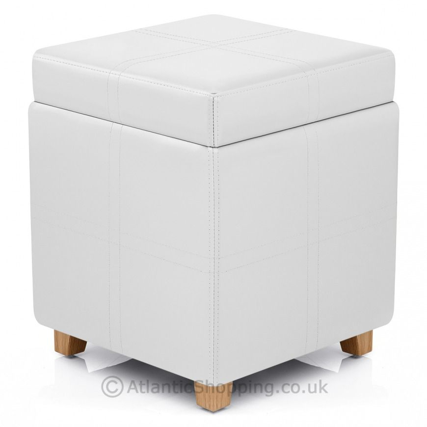 Ottoman Storage Stool White Leather - Atlantic Shopping #bestofbritish - Ottoman Storage Stool White Leather - Atlantic Shopping