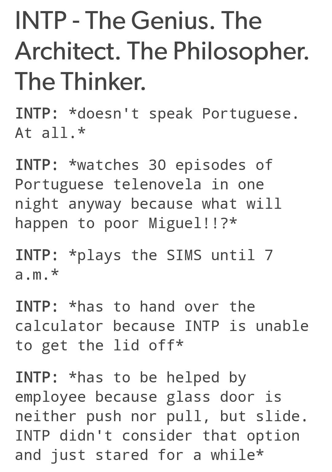 INTP I do love my Sims | INTP and so on | INTP, Intp personality