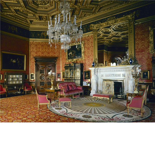 the red drawing room at alnwick castle the carrara marble chimneypiece was carved by giuseppe nucci and the painted decoration is by alessandro mantovani