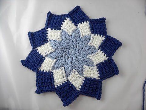 Tunisian Crochet Entrelac Pot Holder With Star Center Its Not