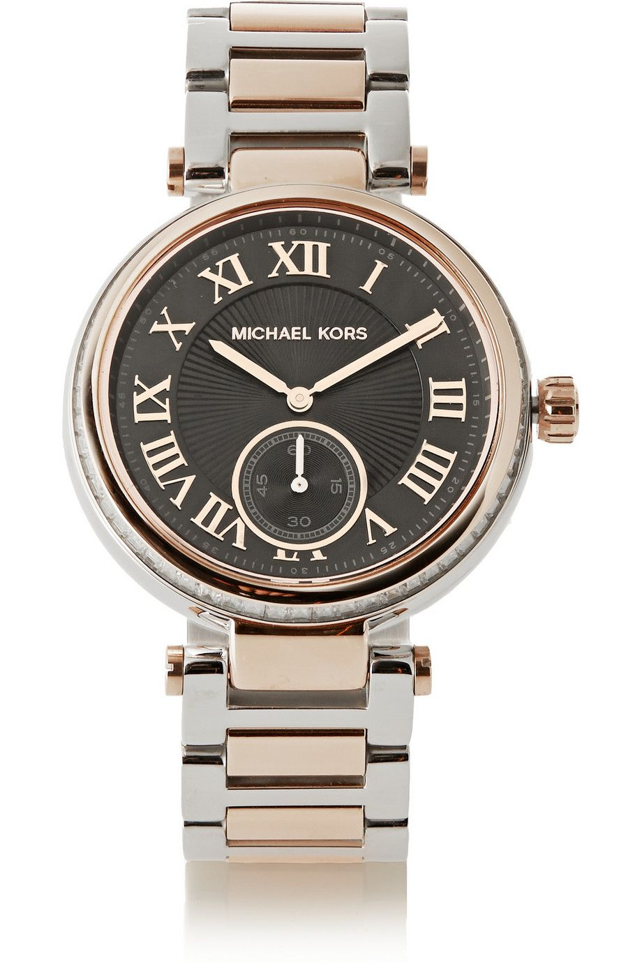 51e4589cc74e Michael Kors Skylar crystal-embellished two-tone stainless steel watch