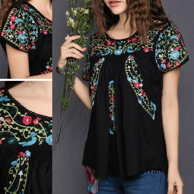 Black Manta Blouse With Embroidered Flowers