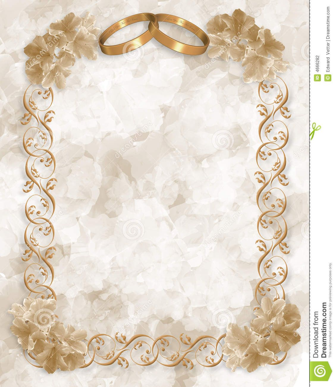 Wedding Invitation Gold Rings Floral Stock Photography - Image ...