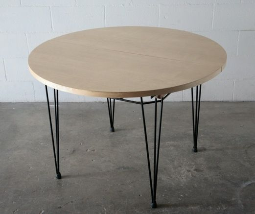 Willy van der meeren style table with hairpin legs 43 58 miles gardens kitchen - Birch kitchen table ...