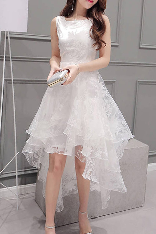A Chicloth Women S Elegant Solid Sleeveless High Low Organza Dress Organza Dress Cheap Dresses Casual Homecoming Dresses [ 1500 x 1000 Pixel ]