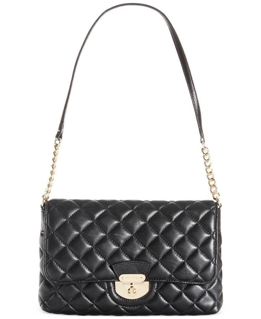 Calvin Klein Quilted Lamb Shoulder Bag All Handbags Accessories Macy S