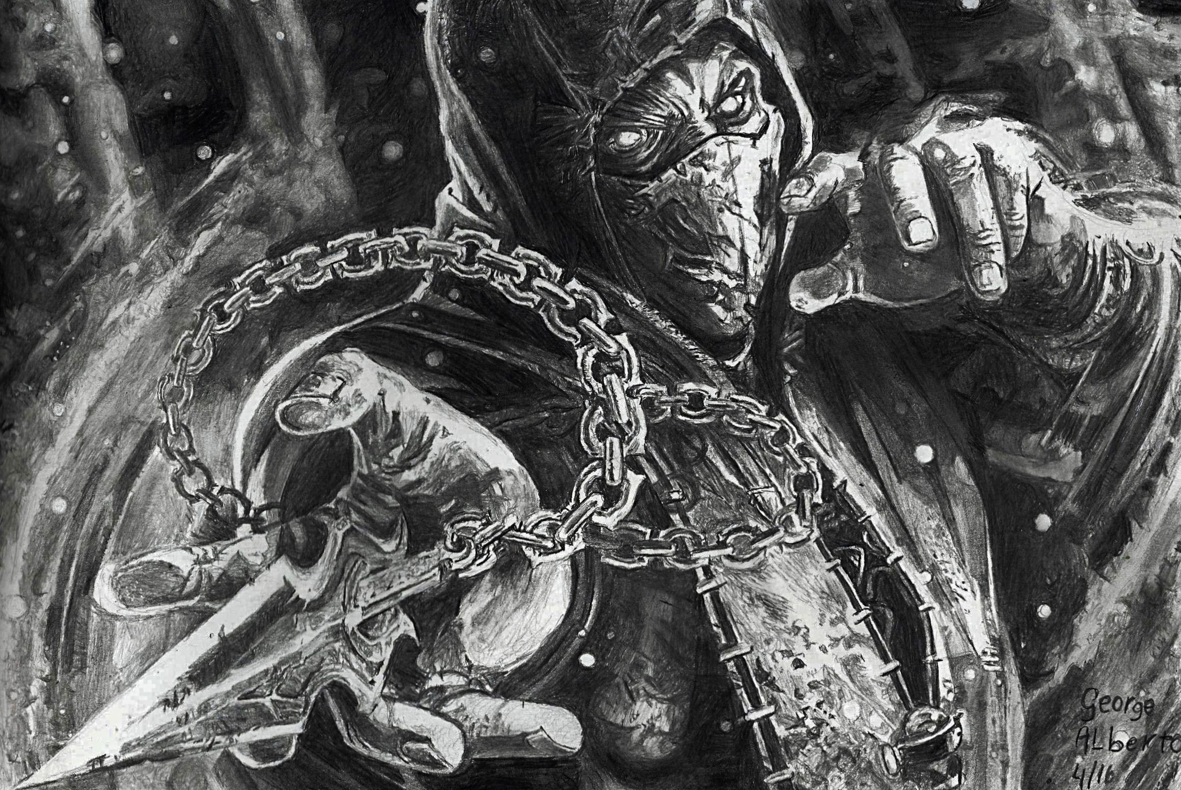 Scorpion Mortal Kombat Pencil Drawing Scorpion Mortal Kombat