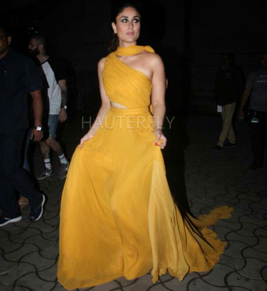 Beautiful Kareena K Khan In Yellow Vision Strapless Dress Formal Long Gown Dresses