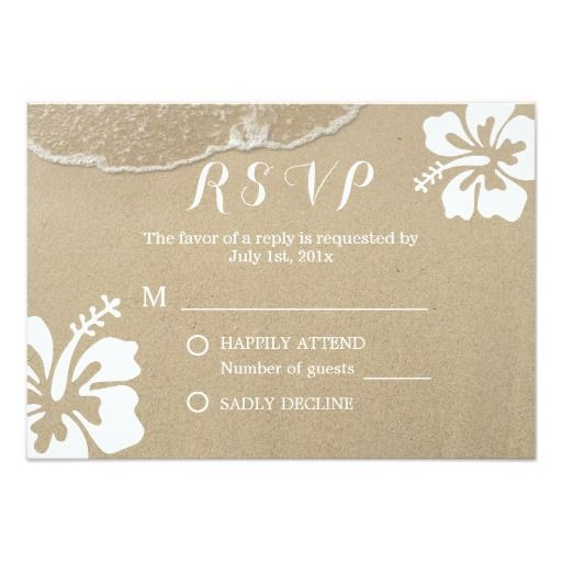 Hawaiian Hibiscus Summer Beach Wedding RSVP