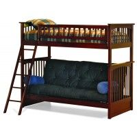 Columbia Twin Over Futon Wood Bunk Bed