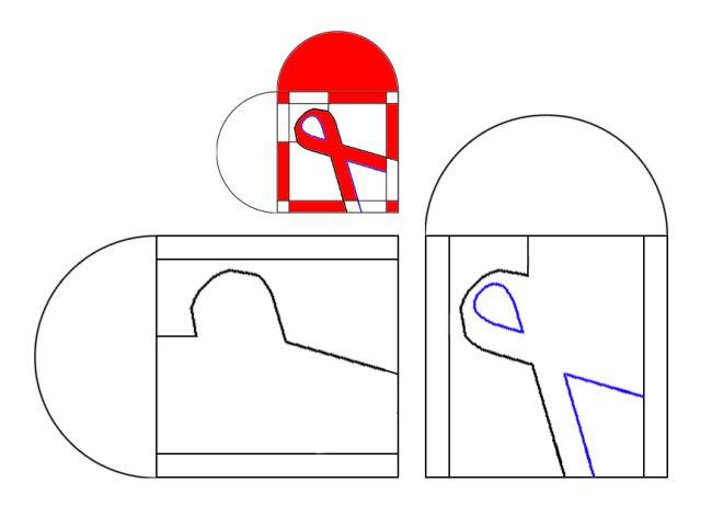 """Red ribbon skabelon/template. """"De blå dele klippes ud af den røde del"""" = cut away the blue (""""blå"""") part."""