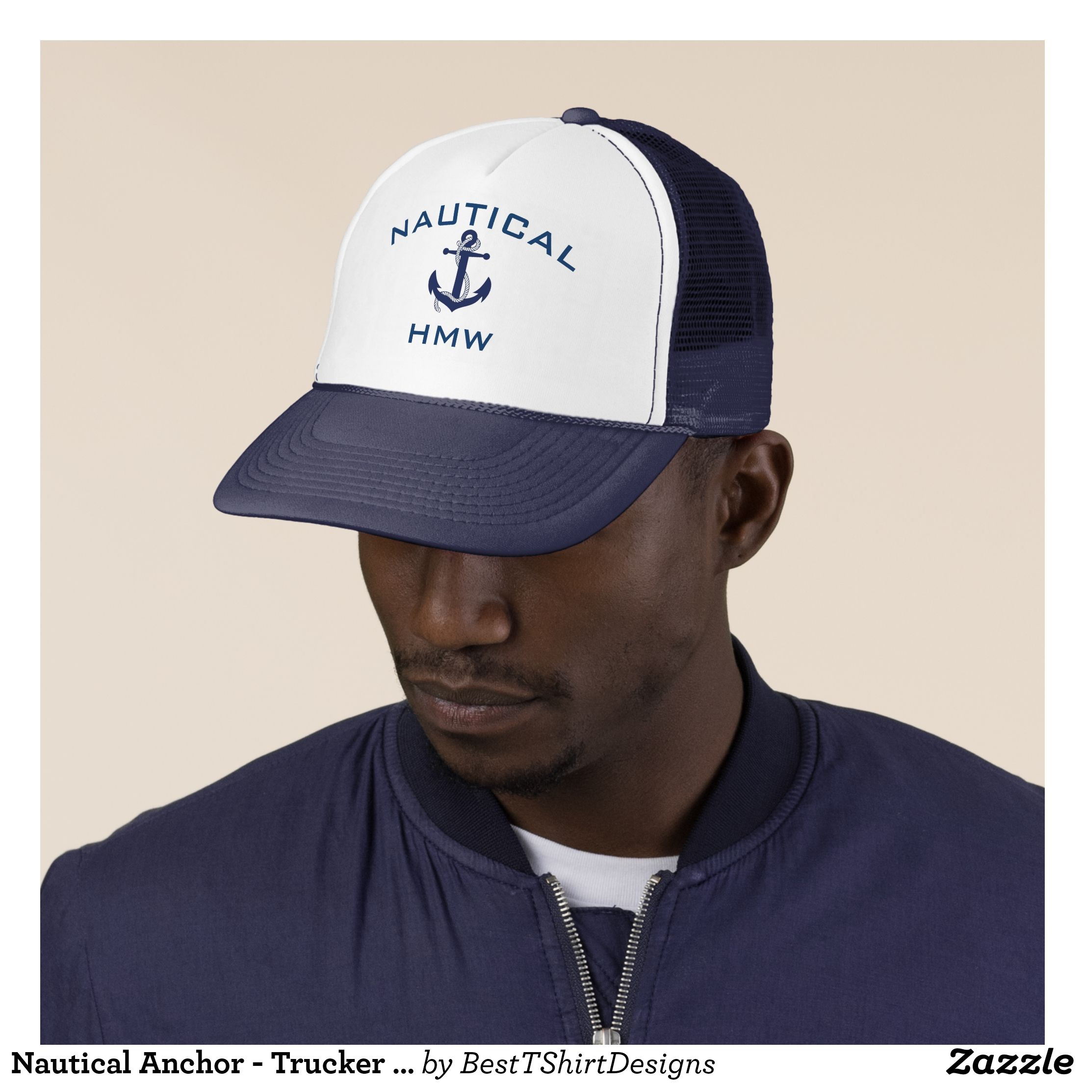 29fa0be7829a2 Nautical Anchor - Trucker Hat - Monogram - Navy - Urban Hunter Fisher  Farmer Redneck Hats By Talented Fashion And Graphic Designers -  hats   truckerhat ...