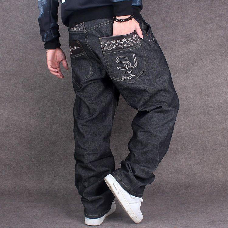 0e6d3fbe1b0 Black Baggy Jeans Men Hip Hop Streetwear Skateboarder Denim Pants Men s  Loose Fit Plus Size Hiphop Jeans Size 42 Size 44   Price   66.00   FREE  Shipping ...