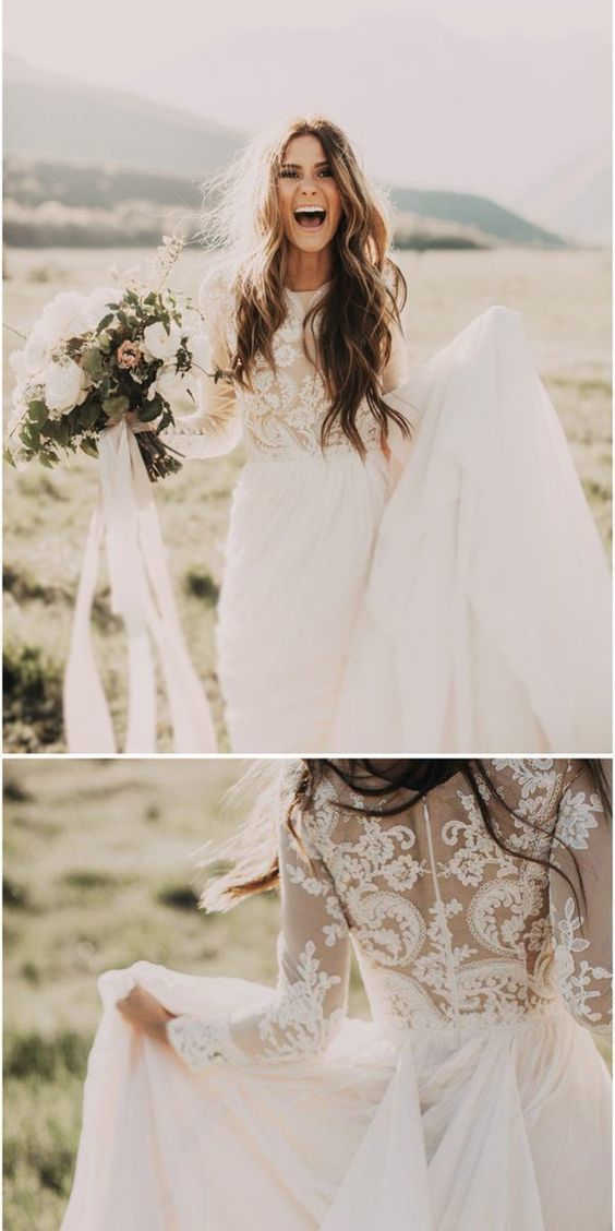 A-line Long Sleeves Fully Lined White Chiffon Wedding Dresses.Cheap Wedding Dresses