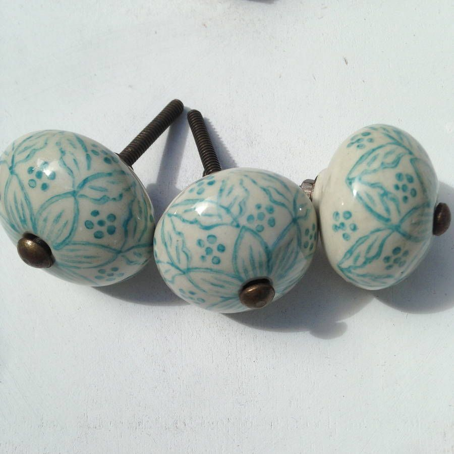 hand painted ceramic drawer knob by french grey interiors