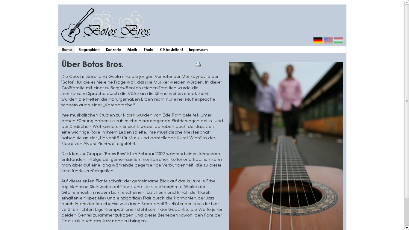 Homepage des Jazz-Gitarristenduos Botos Bros - bestehend aus Jozsef und Gyula Botos.