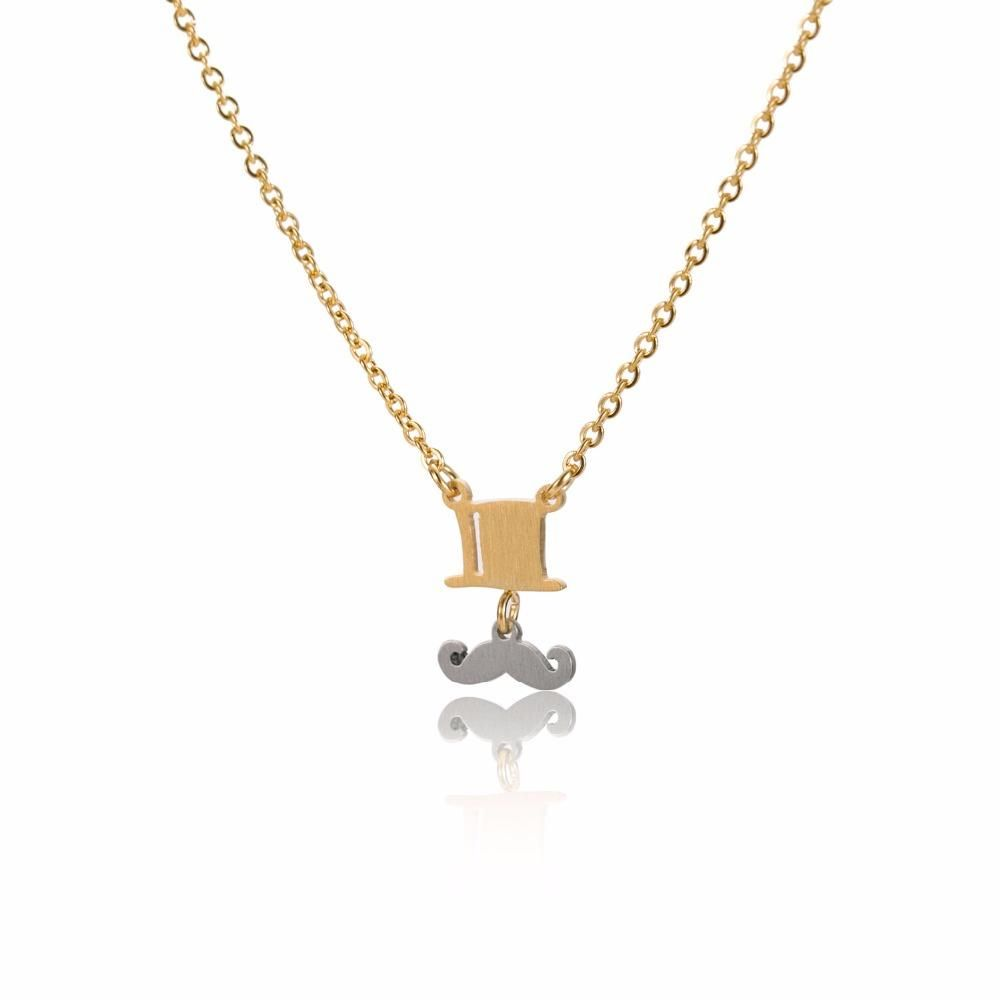 Simple stainless steel pendant dainty necklace cut cartoon bearded simple stainless steel pendant dainty necklace cut cartoon bearded hat gold silver color clavicle aloadofball Images