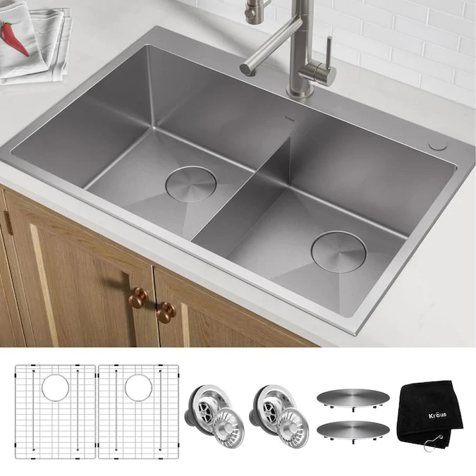 Kraus Standart Pro Dual Mount 33 In X 22 In Stainless Steel Double Equal Bowl 2 Hole Kitchen Sink Lowes Com Sink Sinks Kitchen Stainless Kitchen Sink