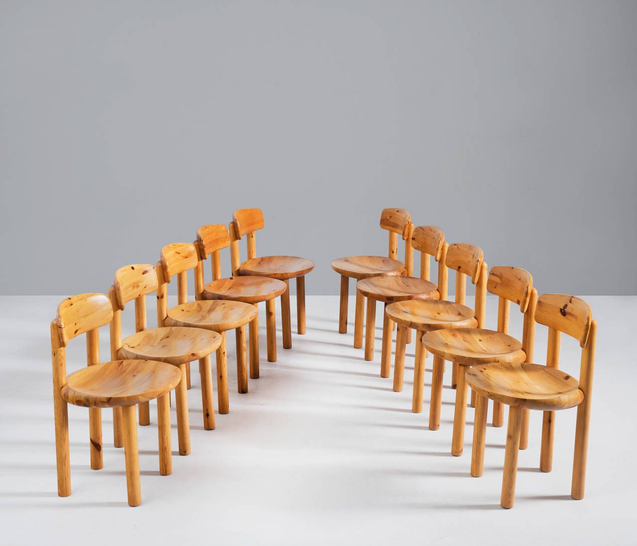Set of 10 Dining Chairs in Solid Pine Wood | From a unique collection of antique and modern chairs at https://www.1stdibs.com/furniture/seating/chairs/