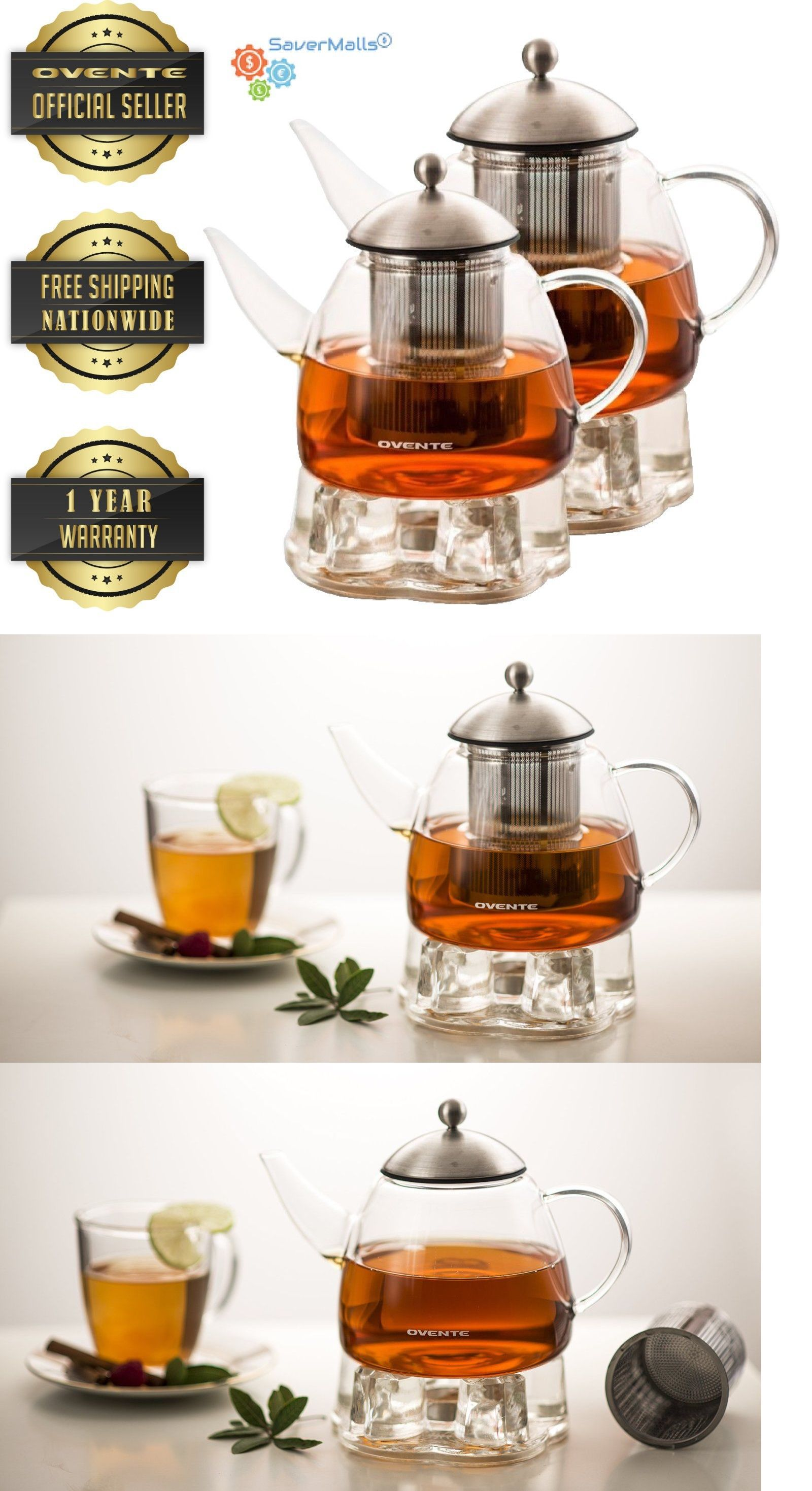 Teapots 115730 Ovente Heat Tempered Glass Teapot With Tea Infuser