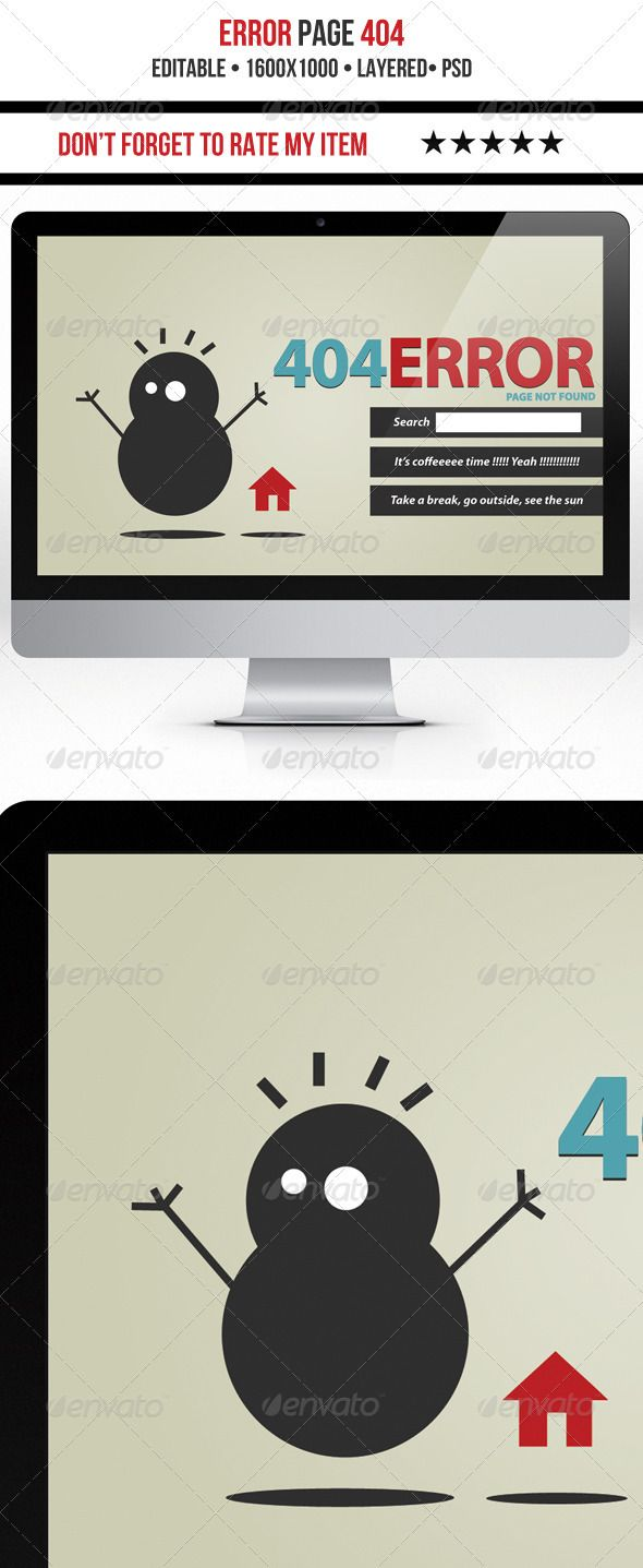 Funny 404 Error #GraphicRiver Nice Error 404 page Font used is