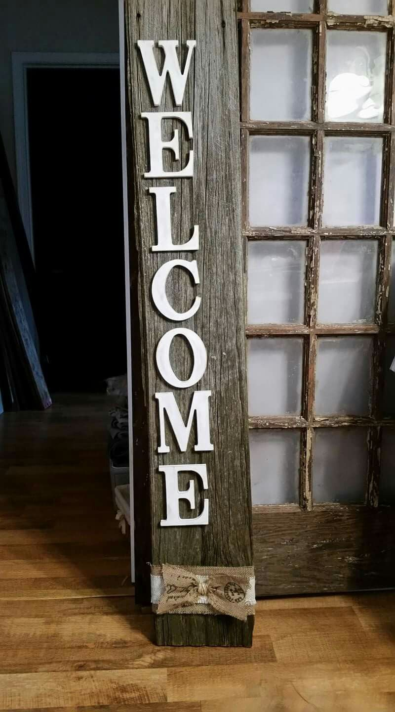 Barnwood Welcome Sign Barn Wood Signs Barn Wood Decor Barn Wood Crafts